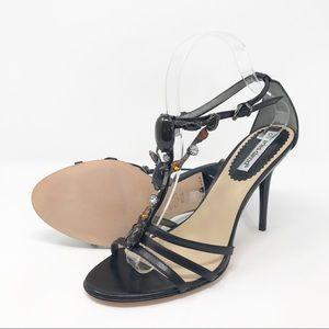 Charles David Black Embellished T-Strap Heel Shoes